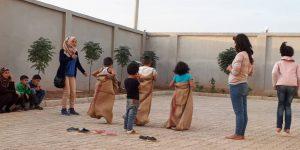 Sackhüpfen der Kinder, Kobane 11/2018